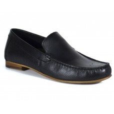 TSF Real Leather Men's Casual Black Slip-on Shoes