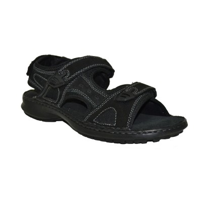 TSF Black Leather Stylish Sandals For Men