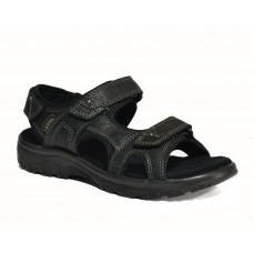 TSF Power Black Genuine Leather Sandals