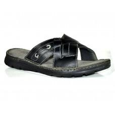 TSF Black Real Leather  Slip-On for Men