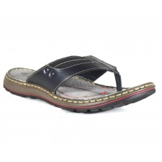 TSF Men Black Leather Slippers