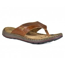 TSF Men Brown Leather Slippers