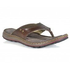 TSF Men D-Brown Leather Slippers