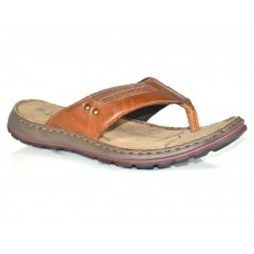 TSF Men Tan Leather Slippers