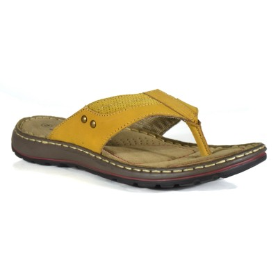 TSF Men Yellow Leather Slippers