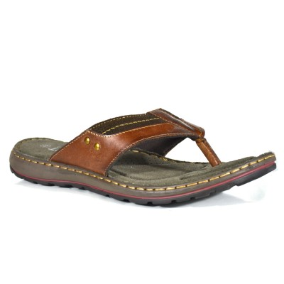 TSF Men Brown-Tan Leather Slippers