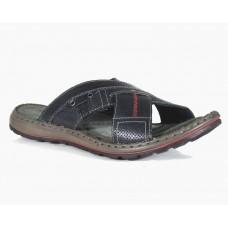TSF Men Black Leather Slippers for Men ( Black )