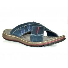 TSF Men Black Leather Slippers for Men ( Navy )
