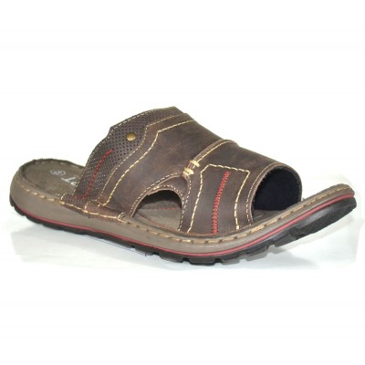 TSF Real Leather Comfort  D-Brown Slippers